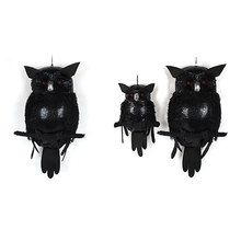 Halloween Props Toy Artificial Animal Prop Art Crafts Halloween Venue Layout Party Simulation Owl Toy With Luminous Eyes(China)