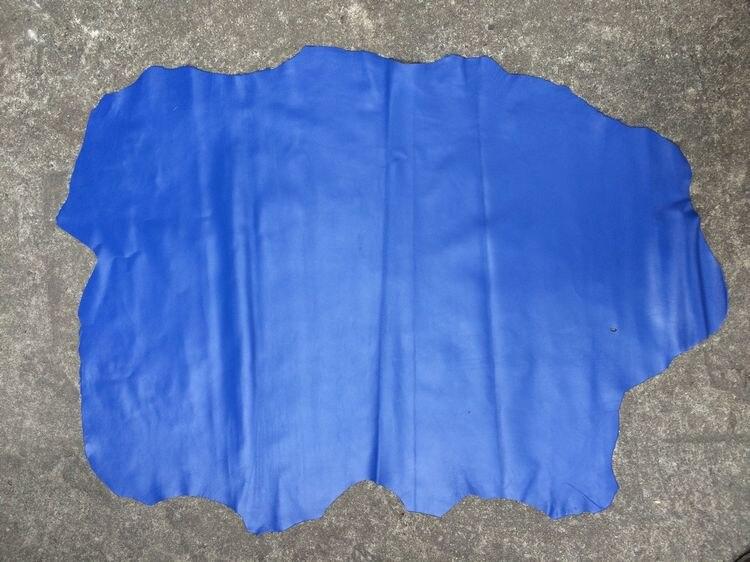 Matière première en cuir de peau de mouton véritable bleu pour sac à main