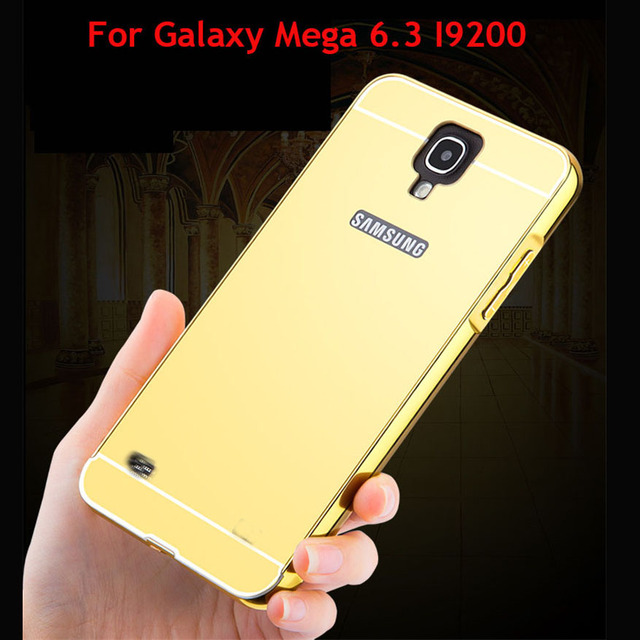 For Samsung Galaxy Mega 6.3 I9200 Luxury Gold Plating Aluminum Case Chrome Mirror Cover