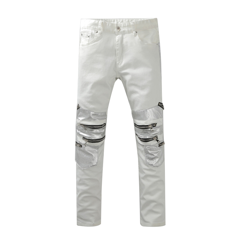 цена на Skinny jeans men White Ripped jeans for men Fashion Casual Slim fit Biker jeans Hip hop Denim pants Motorcycle JW101