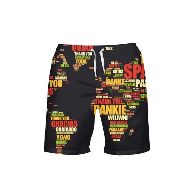 Map Print Running Man Swimming Trunks Surf Shorts Men Bermuda Surf Men's Sportswear Beach Short Men Brands Swimsuit Plus Sizes