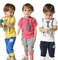 2016 Estilo Verão Do Bebê Meninos Vestuário Set Manga Curta + Calça 2 pcs Crianças Roupas Definir Garcon Vetement Bebe 1-6 Anos Agasalho KF002