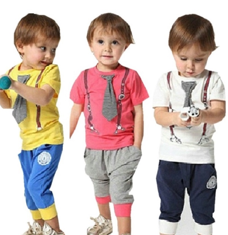 2017 Summer Tsaujia Baby Boys Clothing Set Short Sleeve+Pant Kids Clothes Set Vetement Bebe Garcon 1-6 Years Tracksuit KF002 baby girl clothing syriped short sleeve tshirt pant headband 2pcs set summer baby girls clothes set roupa de bebe