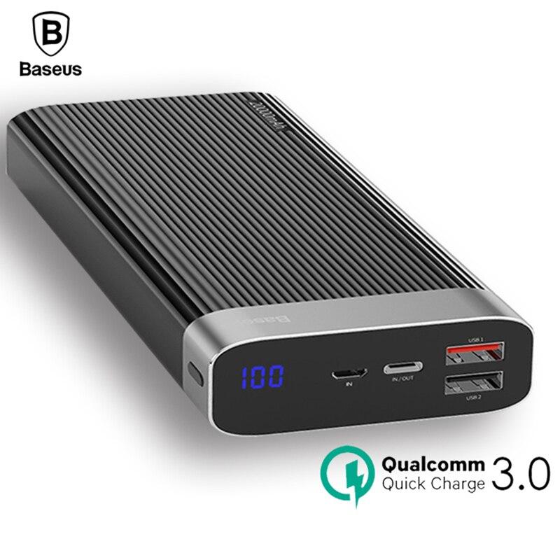 Baseus 20000 mah Puissance Banque D'affichage À LED Charge Rapide 3.0 Double USB Type C PD Sortie Rapide De Charge Externe Batterie pack Powerbank