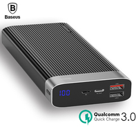 Baseus 20000mAh Power Bank LED Display Quick Charge 3.0 Dual USB Type C PD Output Fast Charging External Battery Pack Powerbank