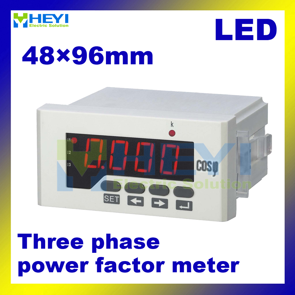 Three phase COS meter LED digital power factor meter 45*92 , 56*114 , 76*152 mm factory direct sale цены