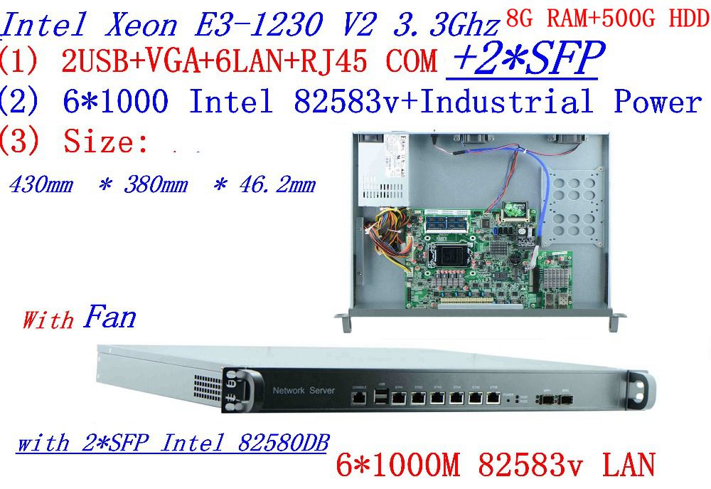 1U Pare-Feu Réseau Quad Core Xeon E3-1230 V2 3.3 ghz avec 8 Ports 6*1000 m 82583 v Gigabit nics avec 2 * intel SFP 8g RAM 500g HDD