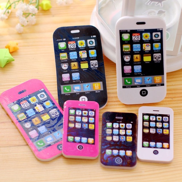 1 Pcs School Supplies Fancy iphone Shaped Pencil Eraser Creative Writing Correction Rubber Eraser For Student's Gift