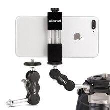 Uurig R002 Statief Magic Arm Met Dual Balhoofd Scharnierende 1/4 Schroef Universele Camera Video Monitor Mount Adapter