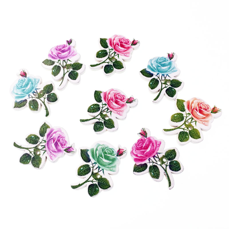50pcs flower fashion fancy bulk mixed wooden button sewing for Decorative pins for crafts