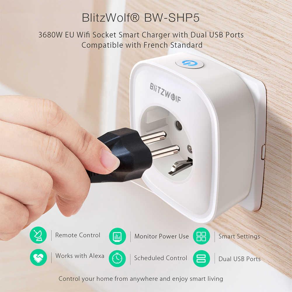 BlitzWolf BW-SHP5 WIFI inteligentny dom gniazdo ue wtyczka 2.1A dwa porty usb 16A praca z amazon alexa asystent google IFTTT Tuya APP