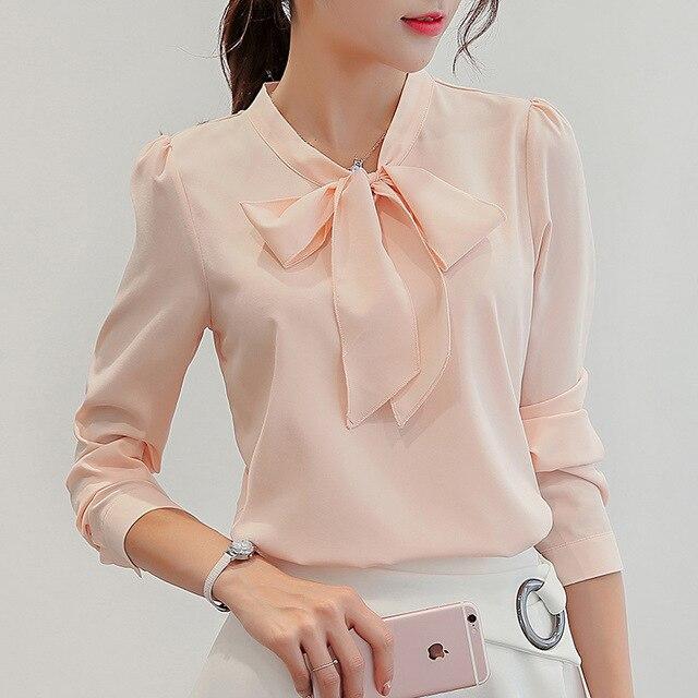 Women Long Sleeve Shirts Fashion Leisure Chiffon Shirt Bow Office Ladies Pink White Tops 1