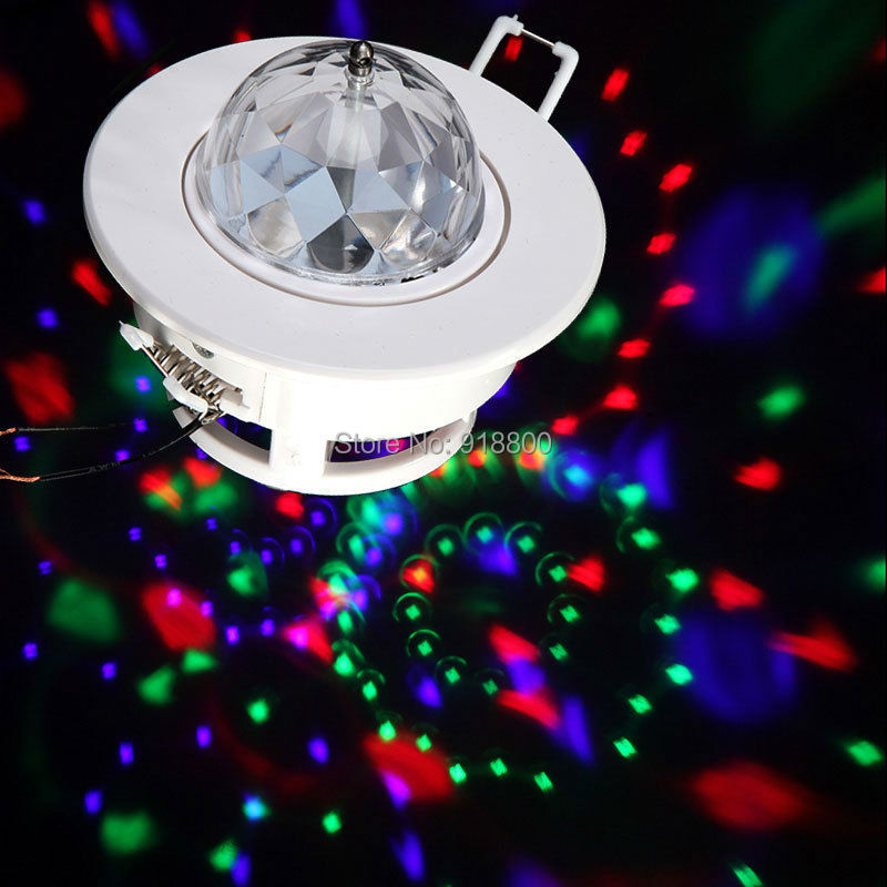 9W Full Color Ceiling Stage light RGB LED Voice-activated Rotating Ceiling Stage Light DJ Disco Moving Party Stage Lighting Lamp 6w e27 led stage light rgb lamp with voice activated mp3 projector crystal magic ball rotating disco dj party stage lighting
