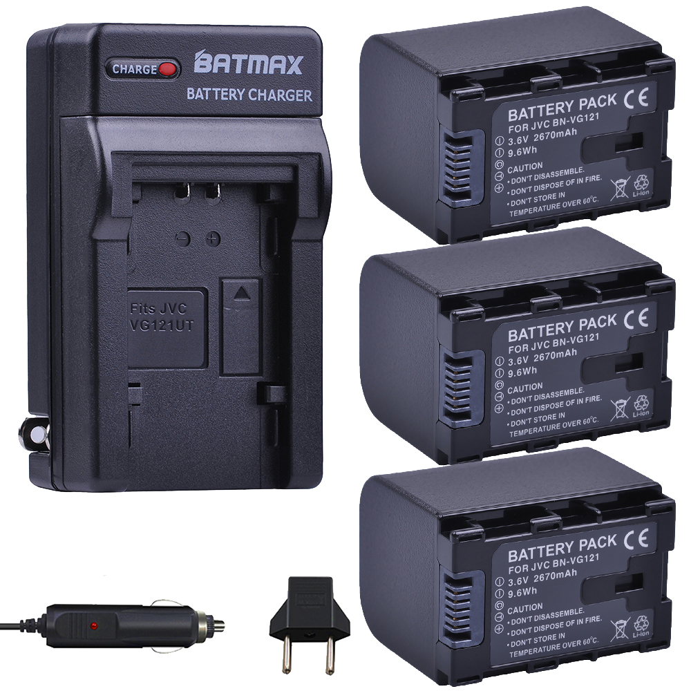 3Pcs 2670mAh BN-VG121,VG121U,VG121US Batteries + Charger Kits for JVC Everio GZ-E Series BN-VG138 BN-VG107U BN-VG114 Camcorders видеокамера jvc everio gz r315
