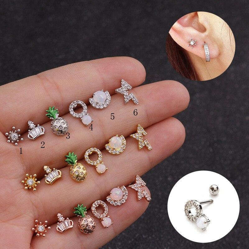 Ear Piercing Jewelry 1pc Stainless Steel Bar Cz Opal Pineapple