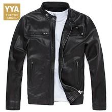2019 New Autumn Mens Sheepskin Jackets Fashion Solid Genuine Leather Short Jacket Streetwear Slim Fit Black