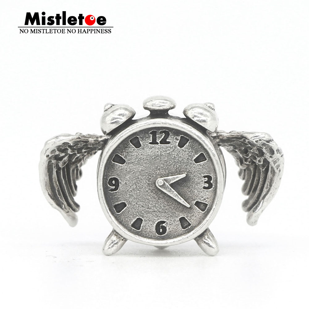 Mistletoe Genuine 925 Sterling Silver Time Flies Charm Bead Fit OHM Troll And Pan Bracelet Jewelry стоимость