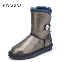 MIYAGINA Alta Calidad! de piel de Oveja genuina Piel Real 100% de Lana de invierno de las mujeres botas de nieve, China Marca El Envío Libre