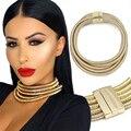 Kim kardashian choker necklace new design ímã fecho de rosca tubulação do enrolamento declaração cadeia collar colar de jóias das mulheres maxi
