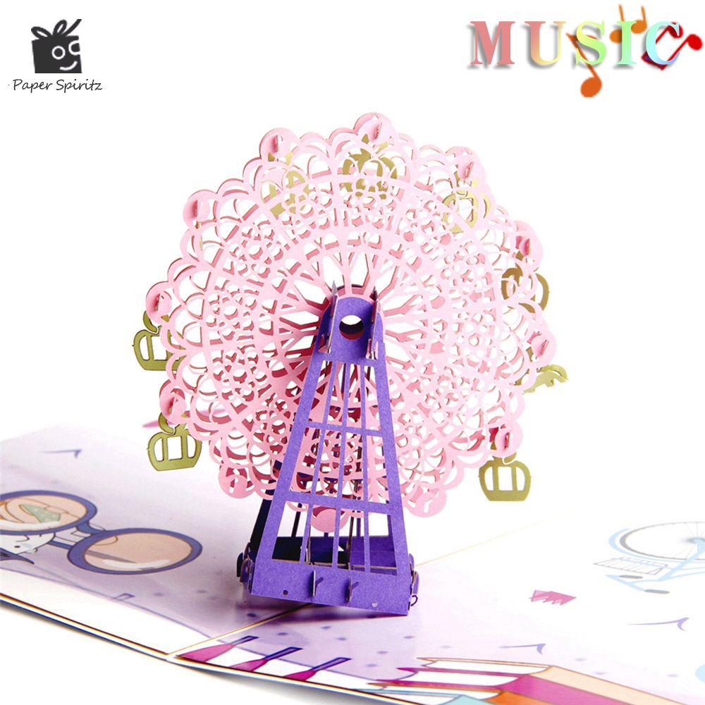Vintage Postcards Handmade Colour 3D Pop UP Musical Greeting Cards Happy Birthday Paper with envelope Gift Card for Girl Baby music card spiral pop up musical notes 3d card music instruments pop up card bday pop up card
