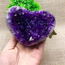 Uruguay amethyst cave block heart-shaped cluster furnishing crystal raw stone