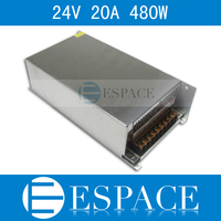 50piece/lot Best quality 24V 20A 480W Switching Power Supply Driver for LED Strip AC 100 240V Input to DC 24V free fedex