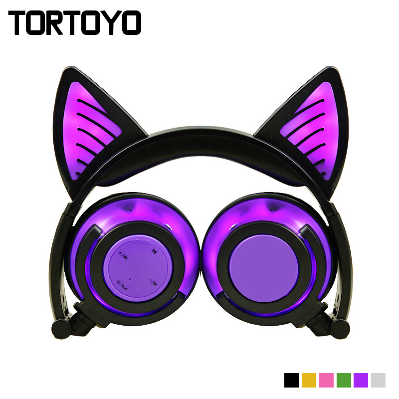 TORTOYO Foldable Stereo Cartoon Cute Cat Ear LED Light Flashing Wireless Bluetooth Headphone Headband Headset for Phone Earphone portable 3 5 jack wired headphone ear shaped cute foldable stereo headset sport led light gamer games headphones