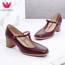New Real Leather Women Pumps Ankle Strap Round Toe Mid Heels Women Shoes Brand Ladies Thick Heels Spring Autumn Office Footwear недорого