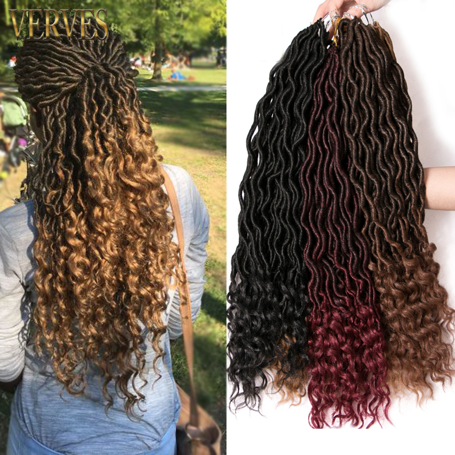 VERVES Ombre Goddess Locs 18 inch Crochet Braids Hair 24 strands/pack Kanekalon