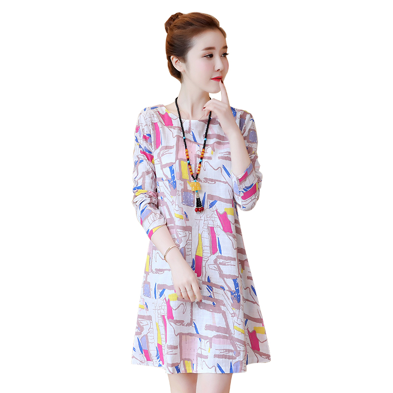 2019 Fashion Print Women Dress Long Sleeve Loose Dress Casual O Neck Party Plus Size Dress Vintage Cotton Short Vestidos in Dresses from Women 39 s Clothing