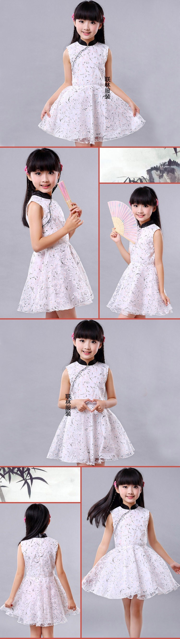 gh Quality Cute Kid Acquard Cotton Dress Vintage Chinese Baby Girl