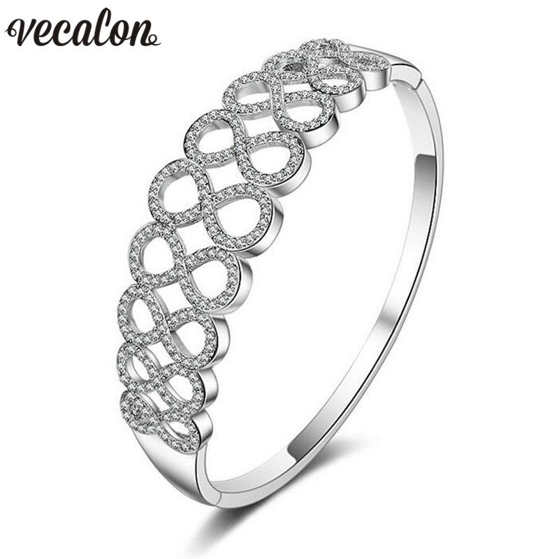 Vecalon Office lady 5A cubic zirconia cross Engagement bracelet White Gold Filled cuff bangle womens Wedding accessaries Gift