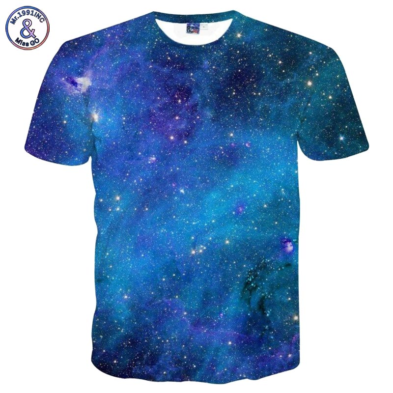 2017 Mr.1991INC Space Galaxy T-shirt Men/Women 3d T-shirt Print Stars Sky Tshirts Fashion Brand T shirt Summer Tops Tees Plus 3X