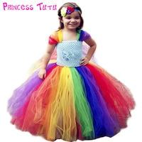 Full length Girl Rainbow Pony Tutu Dress Children Inspired Little Pony Birthday Party Tutu Dresses Halloween Costume For Girls