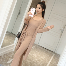 3 Pcs Knitted Spagetti-Strap Top, Jersey and Wide-Leg Pants