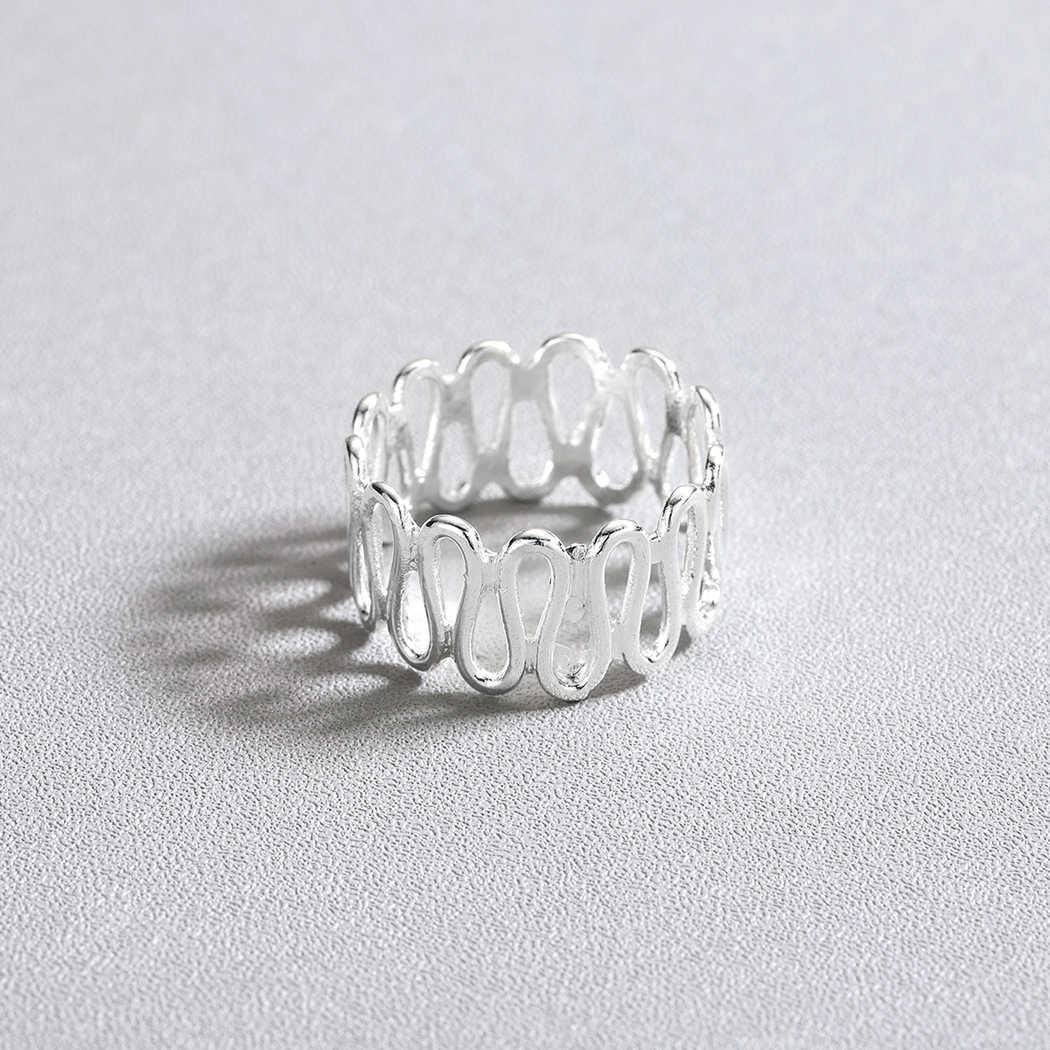 QIMING geometryczne rocznika pierścionki kobiety Twisted Wave palec serdeczny mężczyzn ślub zaręczyny biżuteria srebrna prezent nowe Trendy
