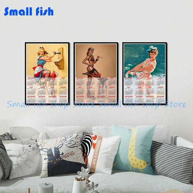 Calendario Bellezza.Us 1 94 19 Di Sconto Sexy Bellezza Pittura 2019 Calendario Poster Arredamento Per La Casa Decorativo Bianco Rivestito Di Carta Autoadesivo Della