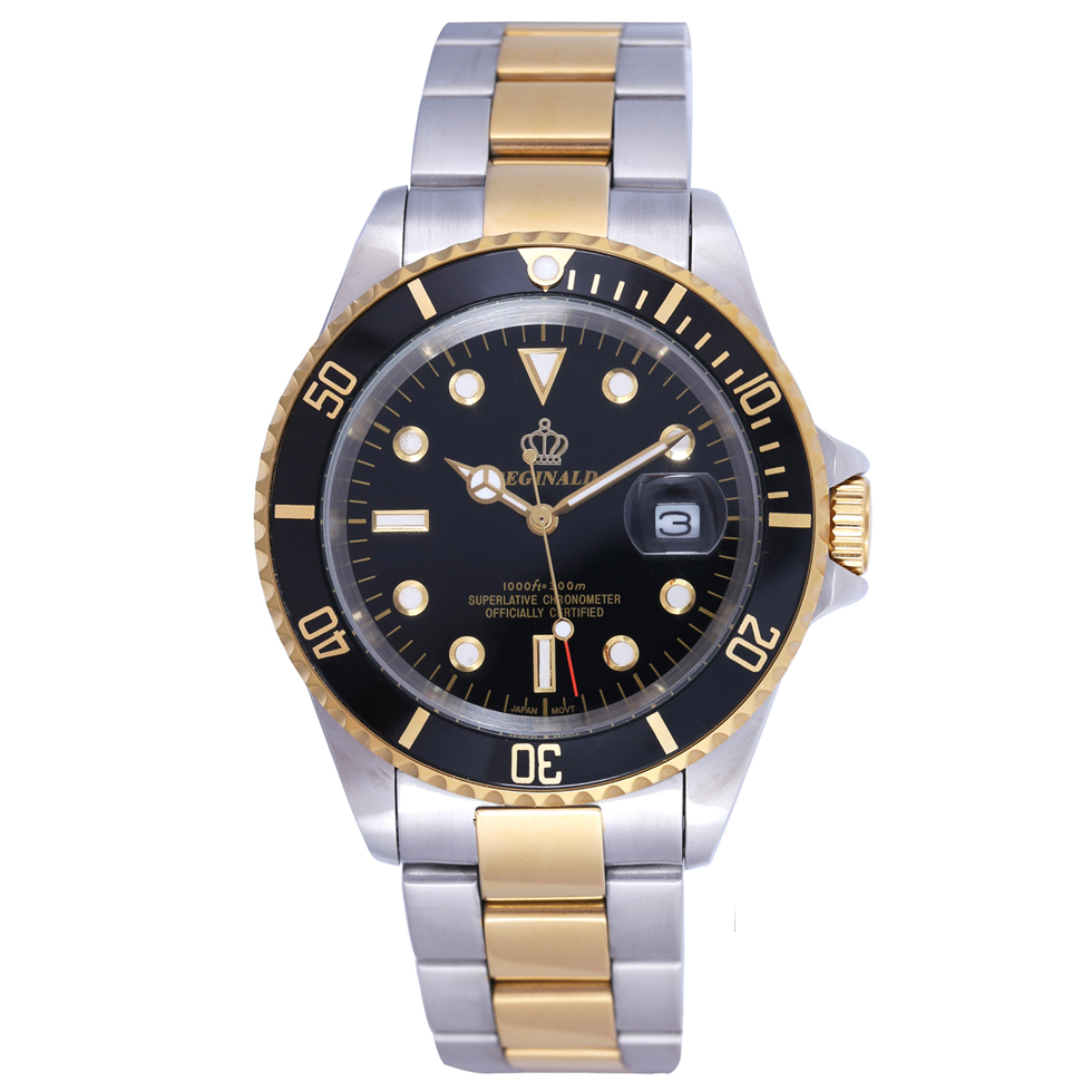 REGINALD Gold Watch Men GMT Rotatable Bezel Sapphire Glass Stainless steel Band Sport Quartz WristWatch reloj  relogio 40MM skone 5051 luminous pointers quartz watch men rotatable bezel wristwatch