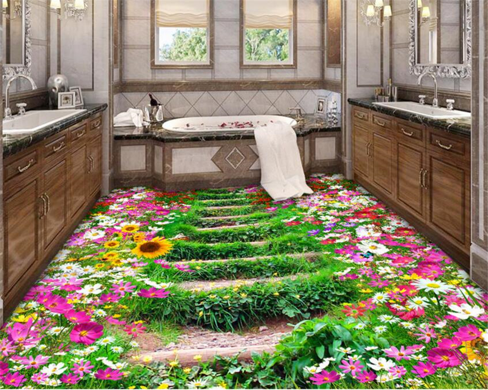 Beibehang Custom 3D Wallpaper Family Bathroom Bedroom flooring Self Adhesive Wallpaper Garden Photo Wallpaper 3d floor tiles beibehang custom photo floor painted