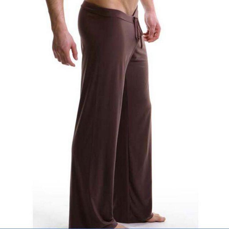 Pajama Hombre Lounge Pants Men Sleep Men's Casual Trousers Soft Comfortable Bottoms Homewear Pajama Lacing Loose Solid Satin