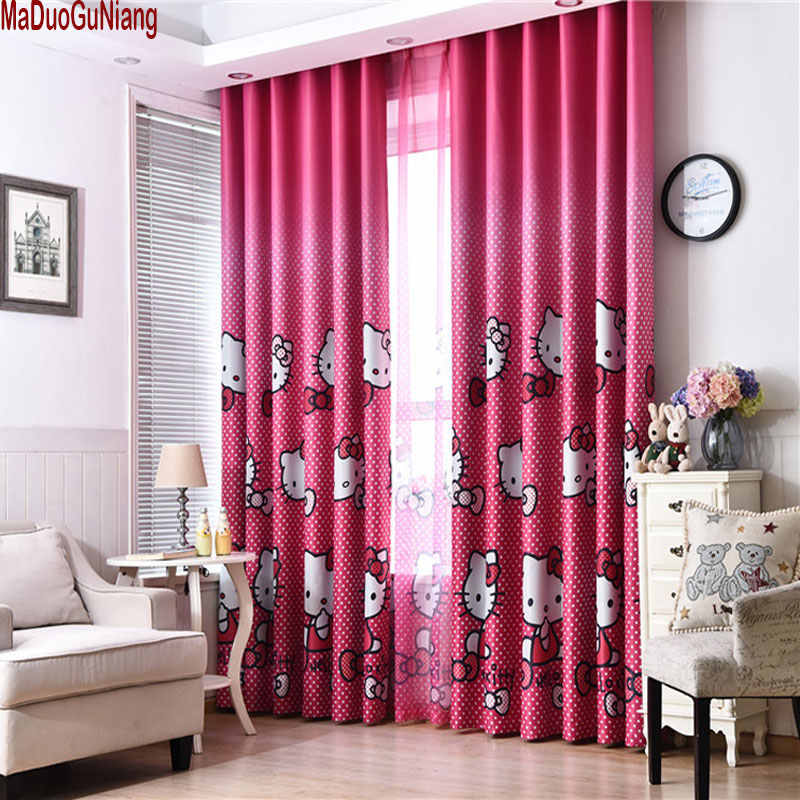 Hello Kitty Pink Princess Curtains for Girl's Room Nursery Kids Children Baby Room Bedroom Blackout Curtains Window Panel Ready