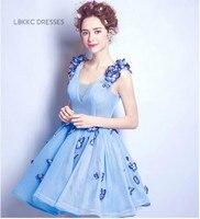 Sky Blue Short Homecoming Dresses A Line Knee Length Tulle Buttfly Vestido De Formatura Curto Formal Graduation Dresses