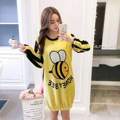 MaiJee Flannel Nightwear   Sleepshirts     Nightgowns   Pyjamas Women Kigurumi Pijama Mujer Night Dress Gecelik Sleepwear   Nightgown