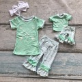Summer outfit girls cute clothes arrow clothing short sleeves capris Aztec set with matching bow and American doll outfits