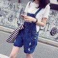 Летний новый Женщин Корейской талии джинсовые шорты джинсы отверстие бахромой джинсовые шорты ремень комбинезоны