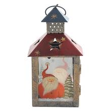 Europe Retro Style Christmas Lights Candlestick Iron Model Light Figurines Home Decor Accessories Chrismas Gifts Craft