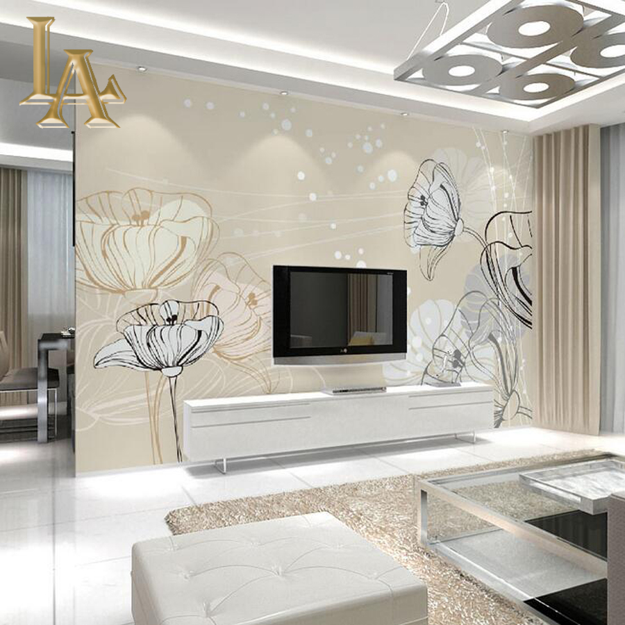 Customize Any Size 3D Modern Simple Flower Bedroom TV Background Wall Paper Home Decor Living Room Non-woven Mural Wallpaper