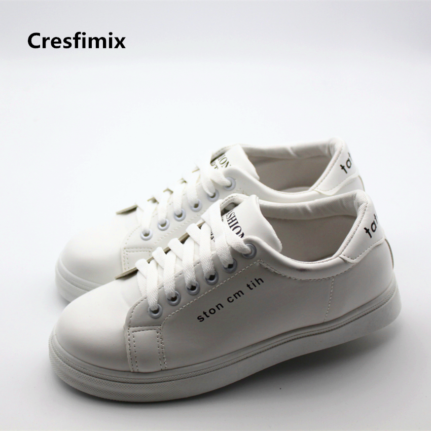 Cresfimix women casual spring & summer lace up white shoes zapatos de mujer lady leisure street stylish shoes cute & soft shoes cresfimix women cute black floral lace up shoes female soft and comfortable spring shoes lady cool summer flat shoes zapatos