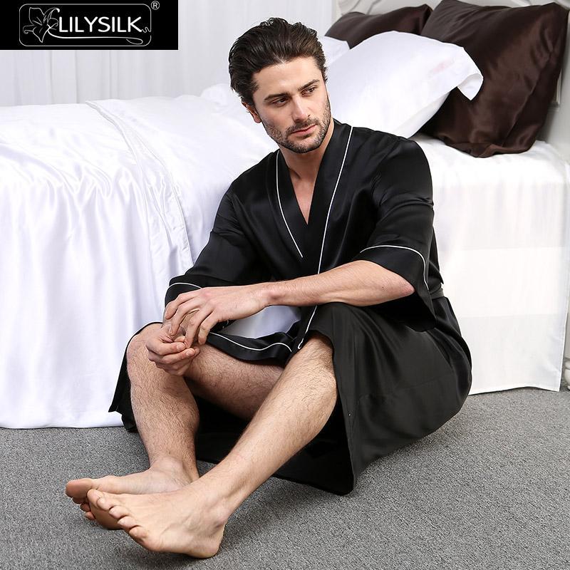 Lilysilk Robe Bademantel Nachtwäsche Kimono Männer Reiner Seide Weiß Getrimmt Hülse Mit Drei Vierteln Ausverkauf Kostenloser Versand