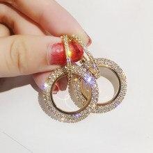 Rinhoo – boucles d'oreilles créoles en strass pour femmes, nouvelle mode, cristal brillant, cercle rond creux pour femmes, bijoux de mariage